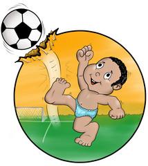 Bebê jogador futebol no útero