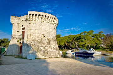 Trogir old stone tower by the sea