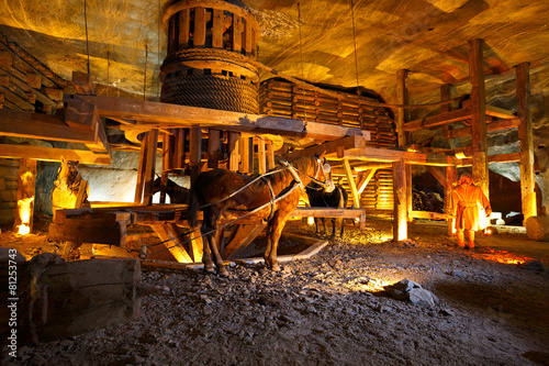 Wieliczka salt mine near Krakow in Poland. - 81253743