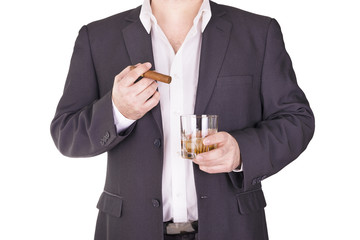 Man drinking and smoking