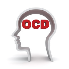 Head shape with red ocd text or Obsessive compulsive disorder