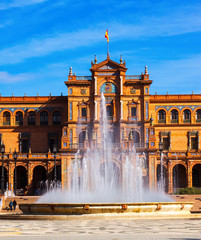 сentral building and fontain at  Plaza de Espana