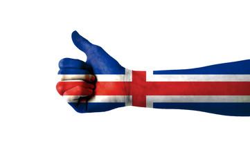 Main avec pouce levé, drapeau Islande