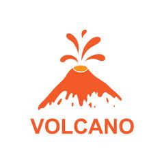 eruption of a volcano, vector logo