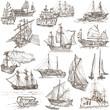 Leinwandbild Motiv Boats - Hand drawings, Originals
