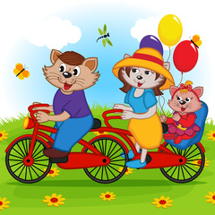 family of cats on tandem bicycle - vector illustration, eps