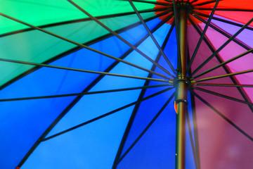 Multicolored umbrella close up under sunlight .