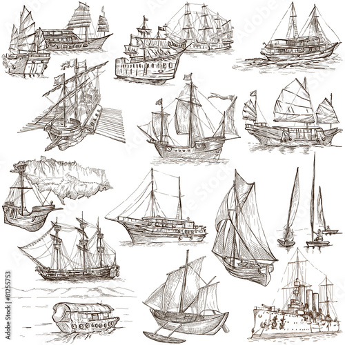 Boats - Hand drawings, Originals - 81255753