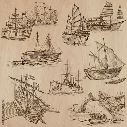 Boats - An hand drawn vector pack - 81255787