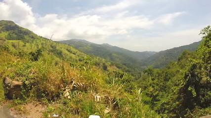 Mountain road view from car in Ella, Sri Lanka