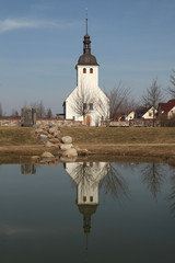 Evangelical church in the village of Neu Horno, Germany.