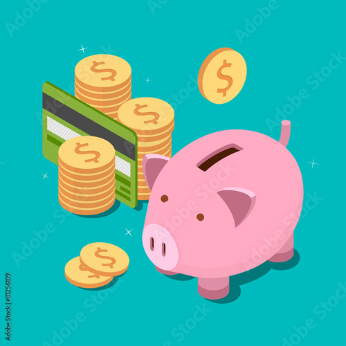 Piggy bank and money tower with credit card. Money savings