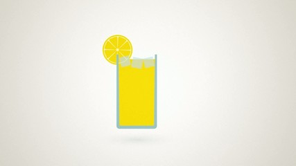 filling a glass of lemonade with lemon and ice