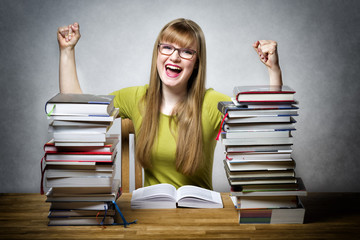 happy student woman with books