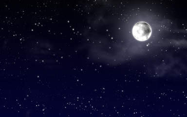 sky with stars and full moon