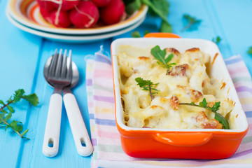 Casserole сauliflower with bacon and cheese