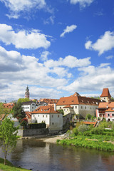 River and roofs of city of Cesky Krumlov