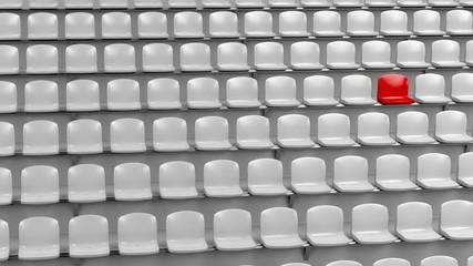 Unique red seat at the stadium