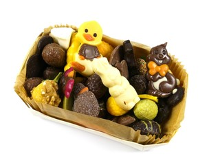 An Easter assortment of chocolate eggs and figures