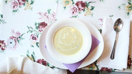 Soup on table