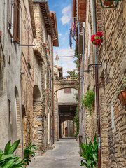 antique alley in Bevagna, Umbria, Italy