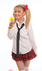 schoolgirl woman with water pistol