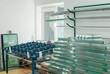 Leinwanddruck Bild - Tempered Window Glass in a PVC Factory