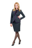 Young professional woman. Caucasian businesswoman isolated on
