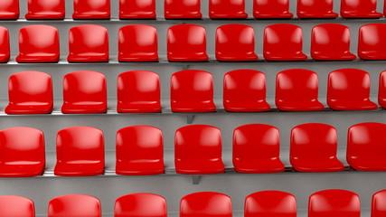 Red plastic seats at the stadium