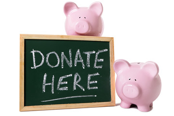Piggy banks with charity message