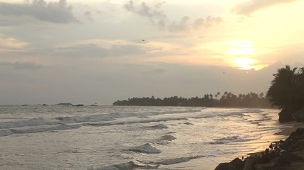 Beautiful beach in Sri Lanka at sunset