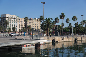 Barcelona old harbor, view on promenade