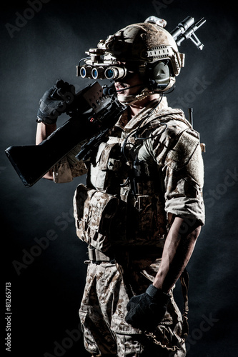 Poster soldier man hold Machine gun fashion