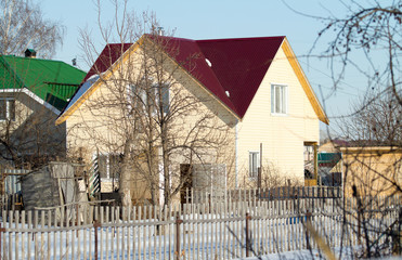 house in the village winter