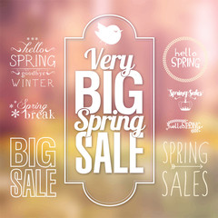 Spring typography vector set for sale label banner