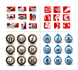 Collection Four different types of icon set for web applications