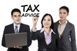 Businesspeople with tax advice