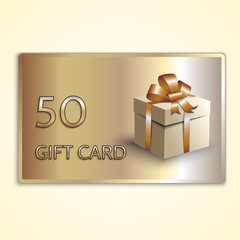Vector abstract golden gift card with box