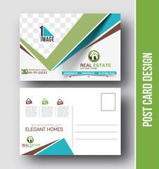 Real estate Postcard Design vector template