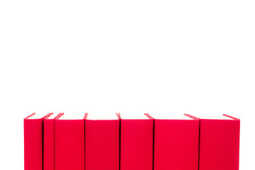 red hardcover books isolated on white
