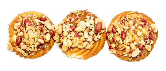 cookies with peanuts on a white background