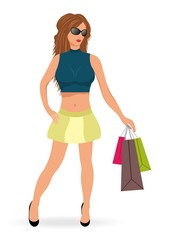 beautiful shopping girl isolated