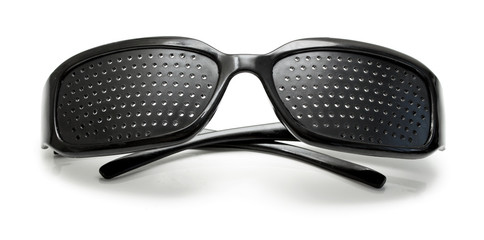 medical spectacles with hole on a white background