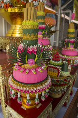 flower thai style on shrine worship colorful concept