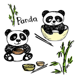 Cute panda eating ,bamboo, chopsticks, hand drawing