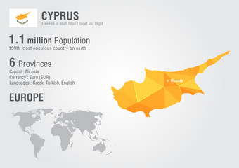 Cyprus world map with a pixel diamond texture.