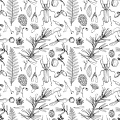 seamless pattern with forest objects