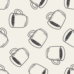coffee doodle drawing seamless pattern background