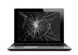 Black laptop with broken screen isolated on white - 81271153