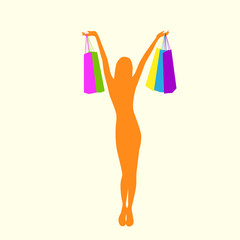 Shopping Woman Silhouette with Colorful Bags